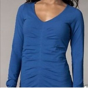 CAbi 671 Royal Blue Pleated Long Sleeve Blouse
